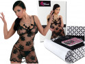 black mesh with lace erotic nightdress - 5