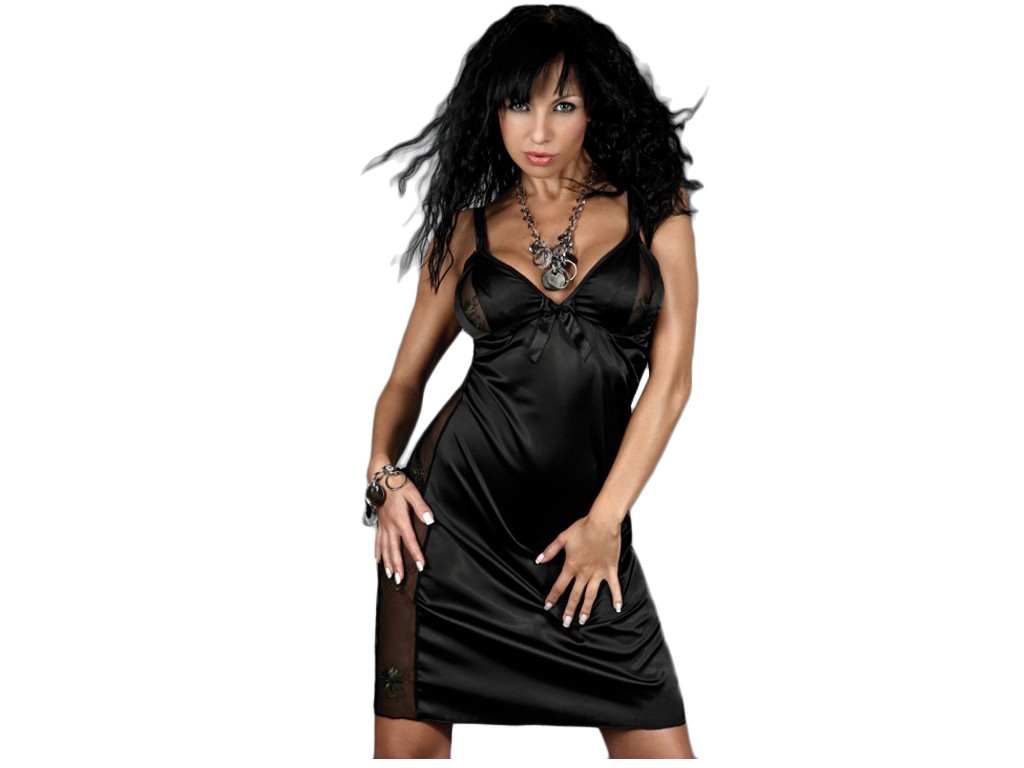 Black satin nightdress with lace - 1