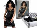 Black satin nightdress with lace - 5