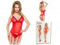 Red corset with garter belts erotic underwear - 4