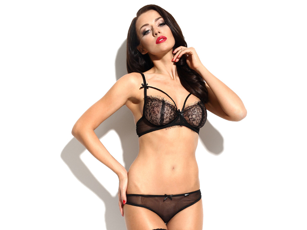 Lace black lingerie set erotic panties bra - 1