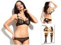 Lace black lingerie set erotic panties bra - 4