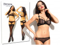Lace black lingerie set erotic panties bra - 3