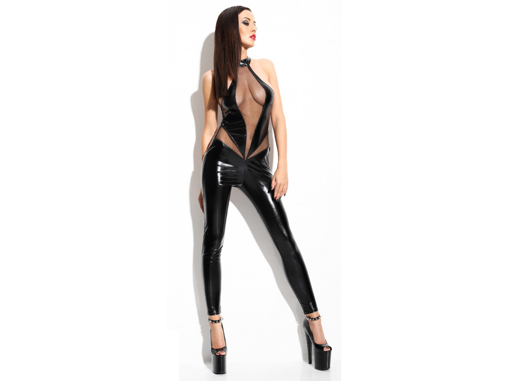A black wetlook set like Catsuit leather - 1