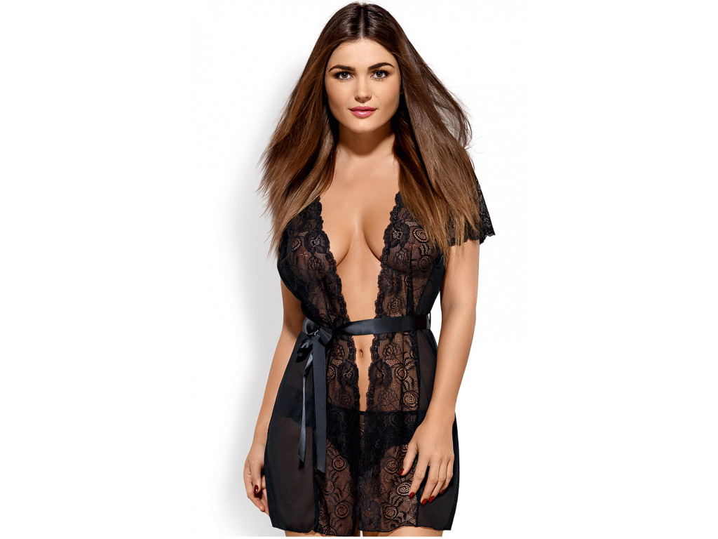 Black lace nunnery dressing gown Obsessive - 1