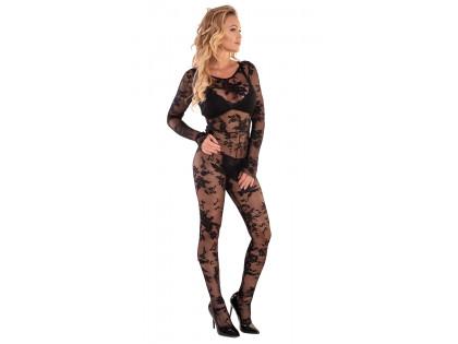 Fekete csipke bodystocking erotikus fehérnemű - 1