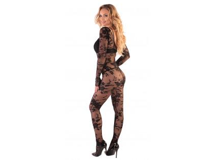 Fekete csipke bodystocking erotikus fehérnemű - 2