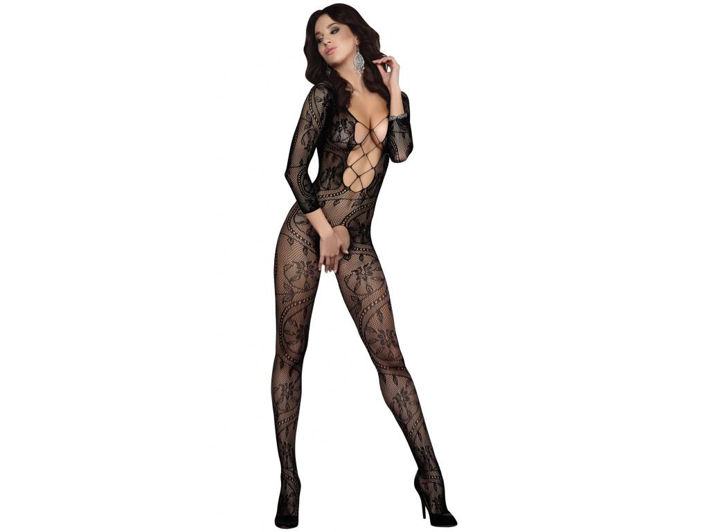 Schwarze erotische Damenunterwäsche mit Bodystocking - 1