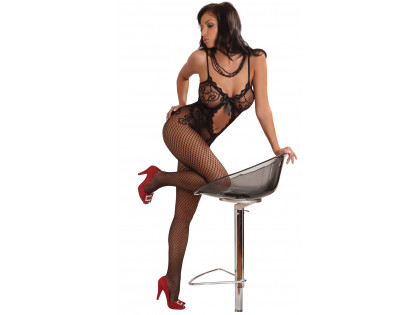 Fekete bodystocking fehérnemű nők erotikus necc - 1