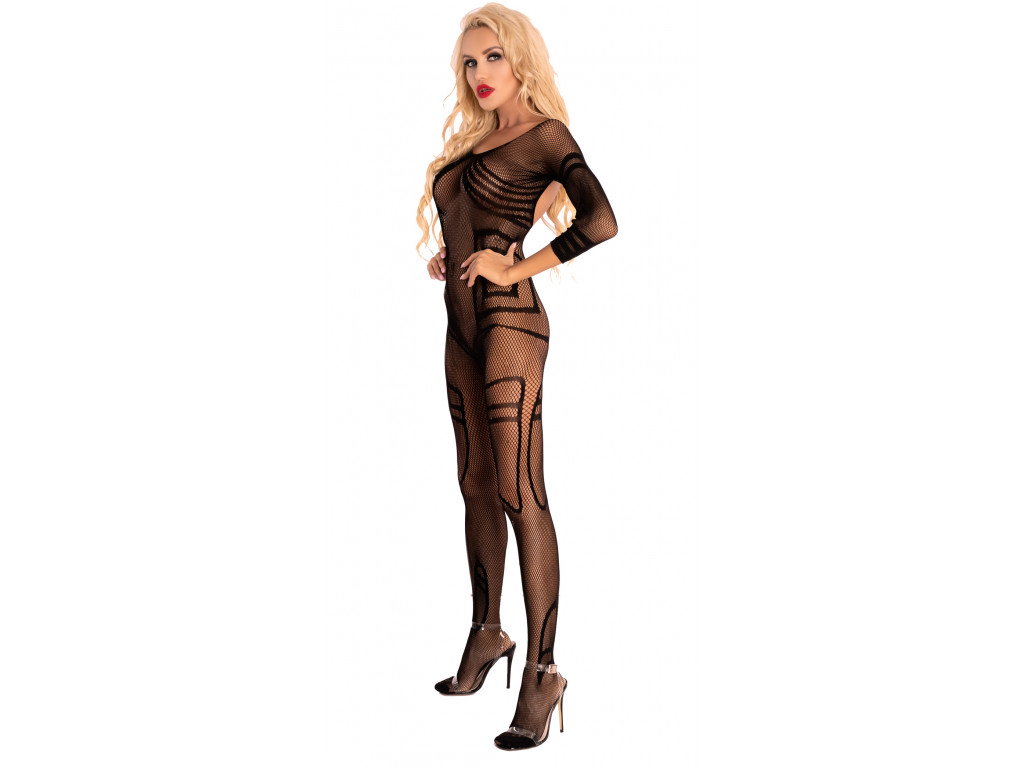 Black underwear erotic bodystocking with mesh