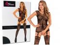 Schwarze erotische Damenunterwäsche mit Bodystocking - 3