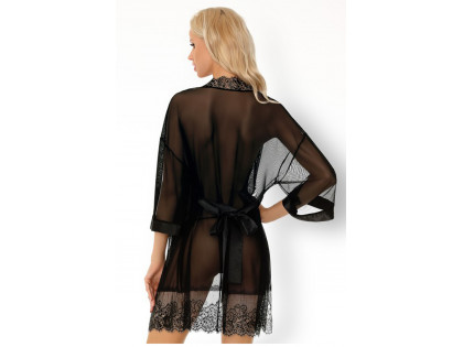 Black tulle dressing gown lace erotic underwear - 2