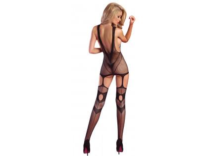 Erotikus fehérnemű fekete női bodystock - 2