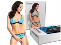 Lace set of lingerie turquoise panties open step