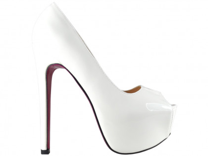 White pins on high heels platform lacquered - 1