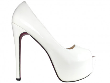 White pins on the platform high heels lacquer large sizes - 1