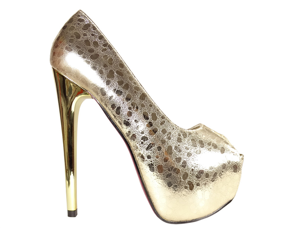 Golden pins on the platform ladies' snake boots - 1