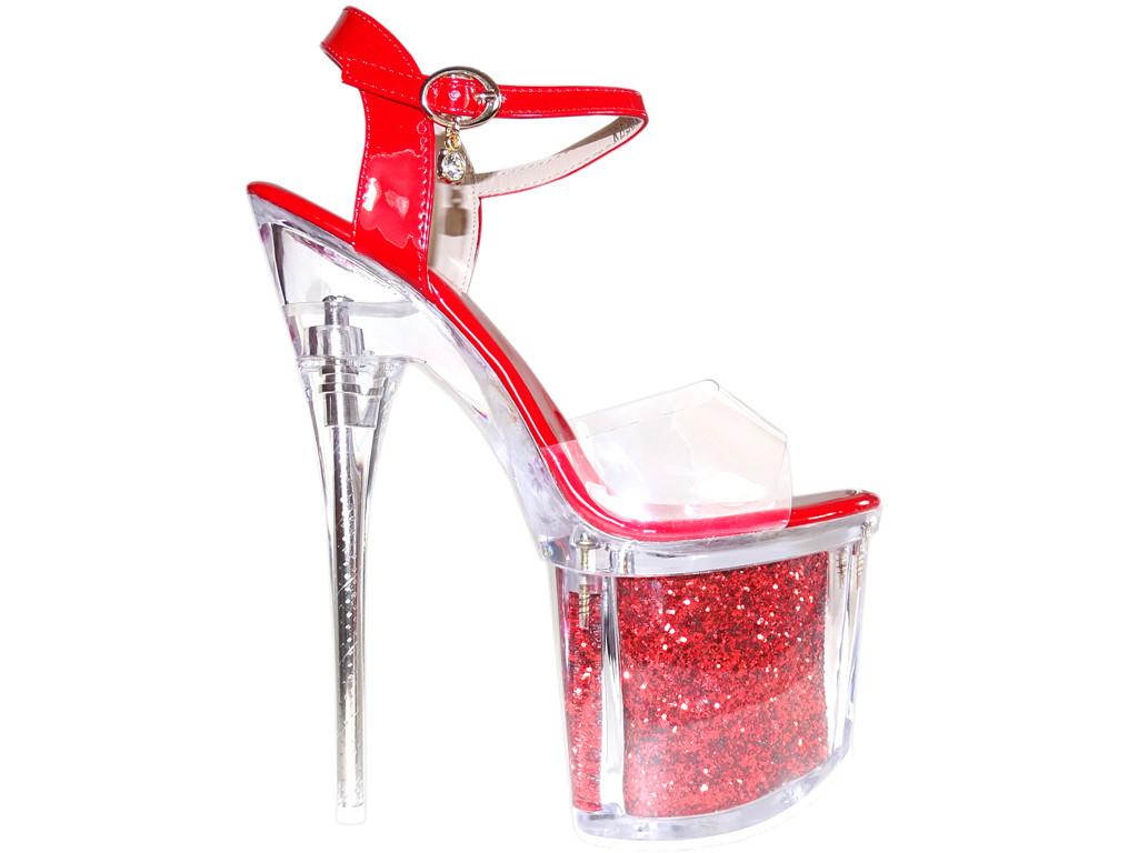 Rote Pins High Heels Brille erotische Stiefel - 1