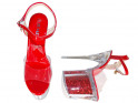 Red pins high heels glasses erotic boots - 4