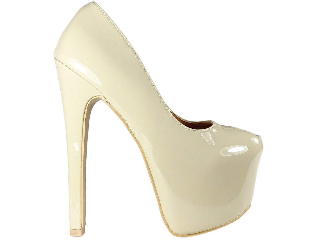 Beige ladies' pins on a high heels platform - 1