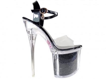 Black pins high heels glasses erotic boots - 1