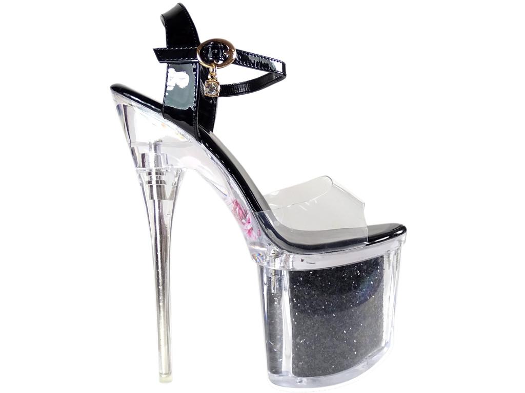 Czarne szpilki szklanki high heels buty erotyczne