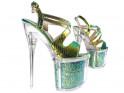 Iridescent pins, high heels erotic boot glasses - 3
