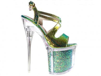 Irizáló tűsarkú szemüveg magas sarkú erotikus cipő - 1