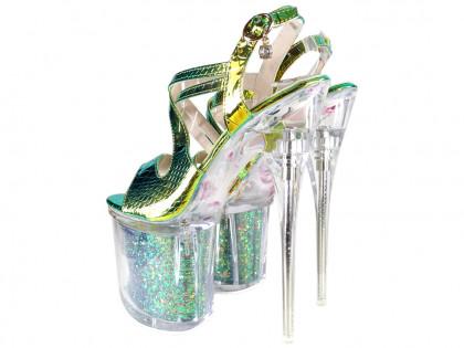Iridescent pins, high heels erotic boot glasses - 2