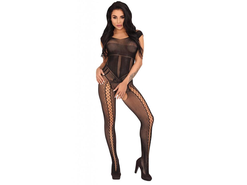 Sexy erotic lingerie black bodystocking - 1