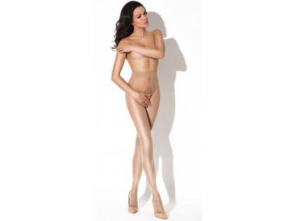 Beige Damenstrumpfhose mit glänzendem Schrittloch - 2