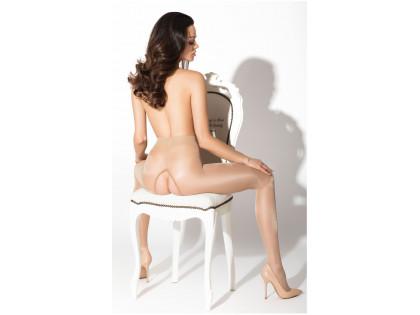 Beige Damenstrumpfhose mit glänzendem Schrittloch - 1