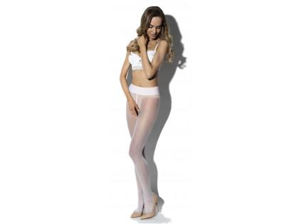 Weiße Damenstrumpfhose mit glänzendem Schrittloch - 1
