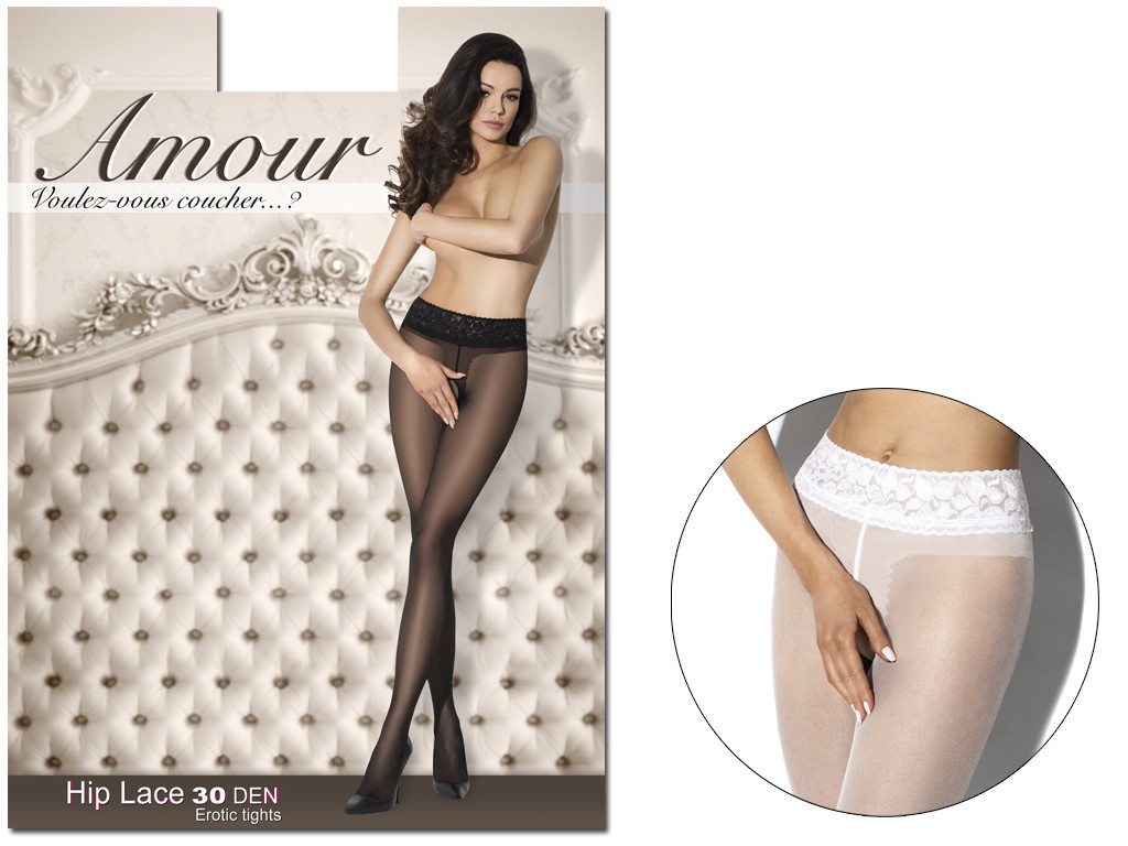 White pantyhose with a hole in the crotch with lace in the waist - 5