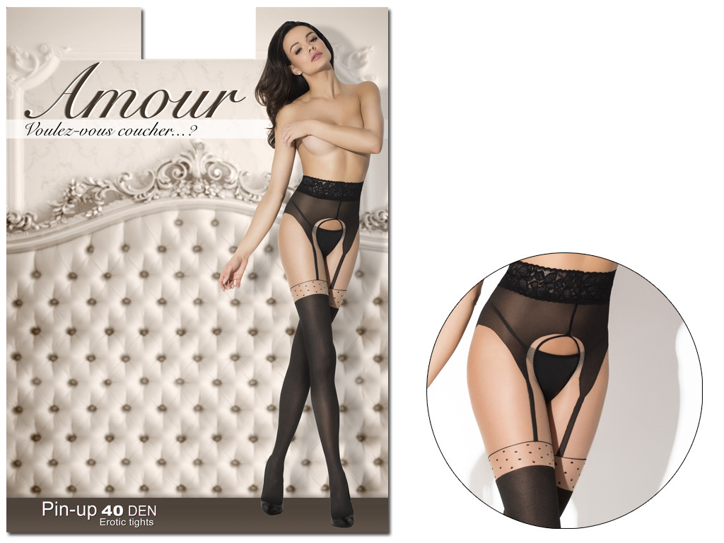 Tights like stockings with a hole in the crotch of the waist lace - 5
