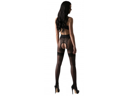 Black tights with a hole in the crotch like lace stockings - 2