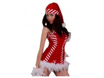 Dressing up a set of Santa Claus white and red - 1
