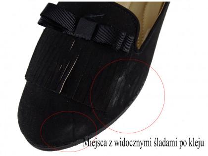 Czarne czółenka damskie z zamszu z paskiem - 1