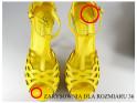 Outlet gelbe Sandalen auf einem hohen Absatz Plateauschuhe - 5