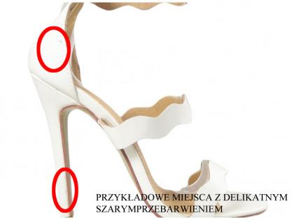 Outlet fehér magassarkú női szandál esküvői cipő - 2