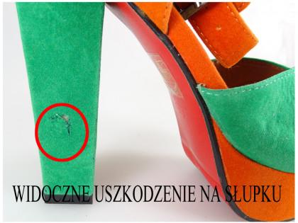Outlet zöld-narancs szandál - 2