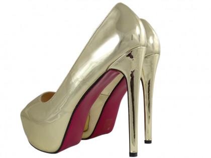 Golden pins on the platform large size high heels - 2