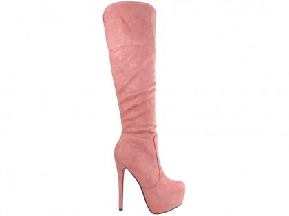 Rózsaszín platform csizma velúr tűsarkú cipővel - 1