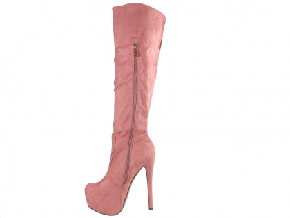 Pink boots on the platform suede pins - 2