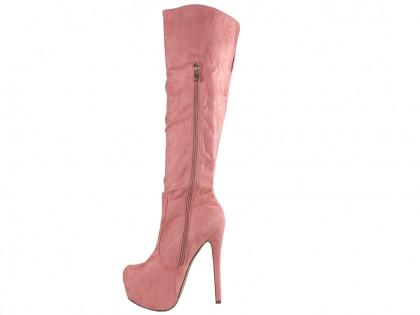 Rózsaszín platform csizma velúr tűsarkú cipővel - 2