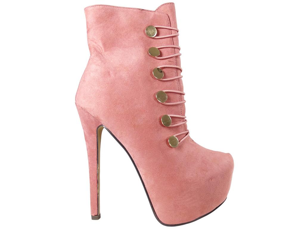 Różowe botki na platformie zamszowe buty damskie