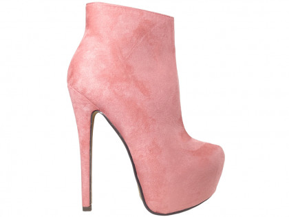Pink boots on the platform suede boots - 1