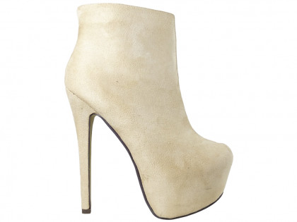 Beige boots on the platform suede boots for women - 1