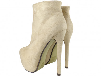 Beige boots on the platform suede boots for women - 2