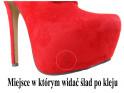 Czerwone botki na platformie zamszowe szpilki - 6